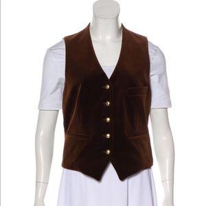 Yves Saint Laurent YSL brown velvet vest